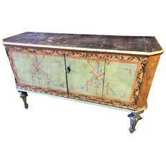 Early 19th Century Neoclassical Green Painted Italian Cabinet with Two Doors