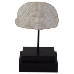 Early 19th Century Neoclassical Italian Marble Architectural Head Fragment