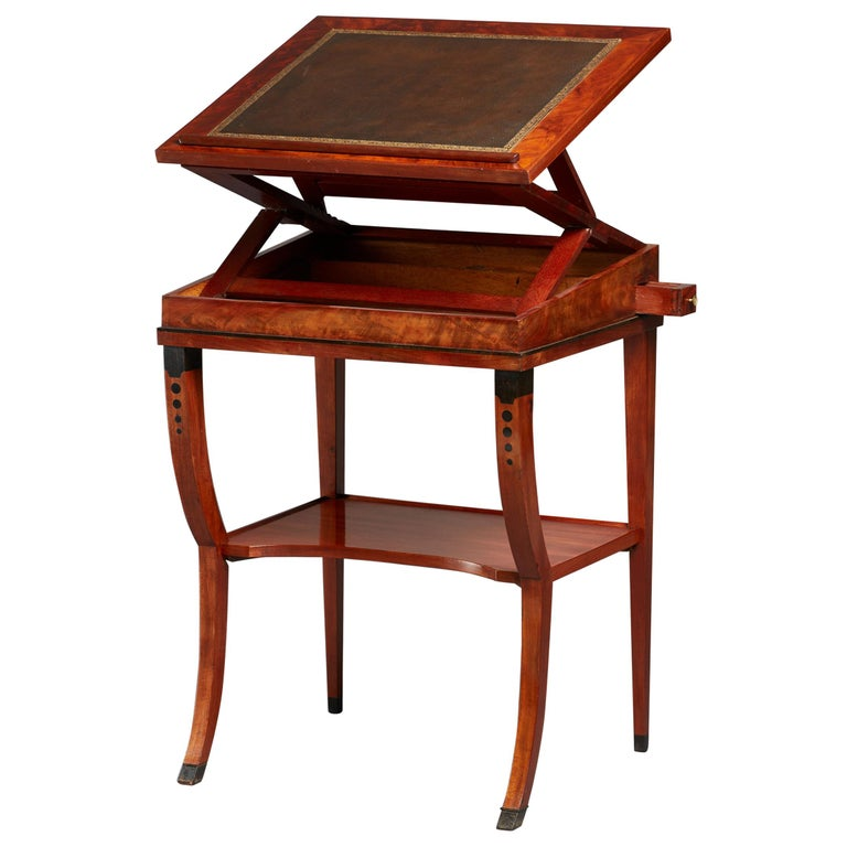 Early 19th Century Neoclassical Metamorphic Drafting-cum-Reading Mahogany Table For Sale