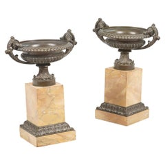 Early 19th Century Neoclassical Pair of Bronze Tazza's
