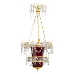 Early 19th Century Neoclassical Russian Ormolu and Ruby Glass Lantern Chandelier