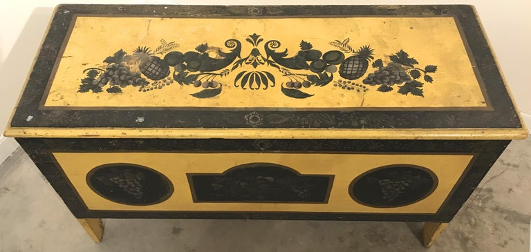 American Early 19th Century New England Painted and Stenciled Blanket Chest For Sale