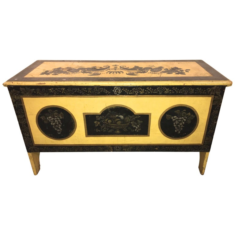 Early 19th Century New England Painted and Stenciled Blanket Chest For Sale