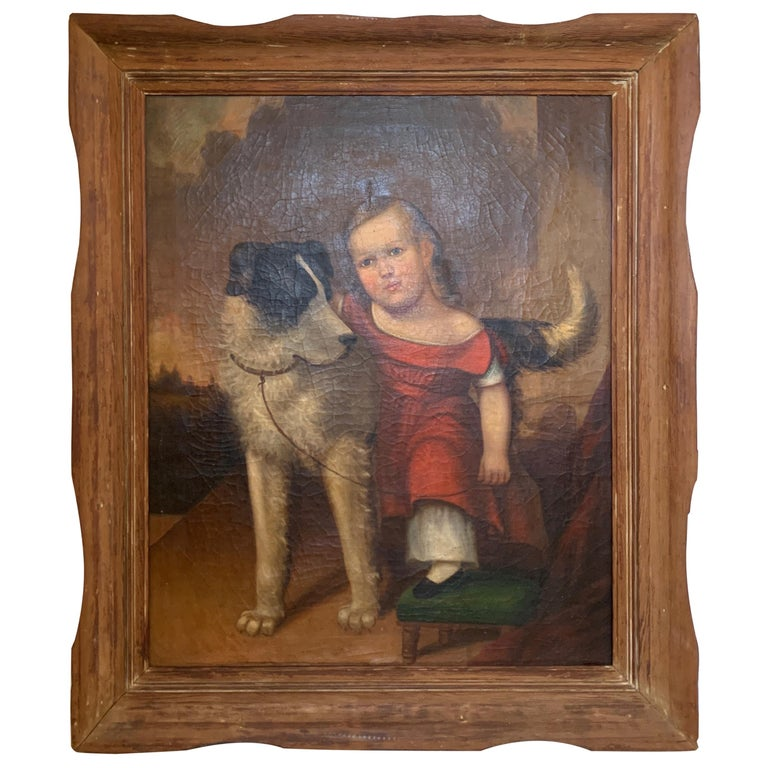 Early 19th Century Oil on Canvas of Child with Dog For Sale