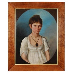Early 19th Century Oil on Canvas Portrait of Ann Dorr, Barrowby, near Grantham