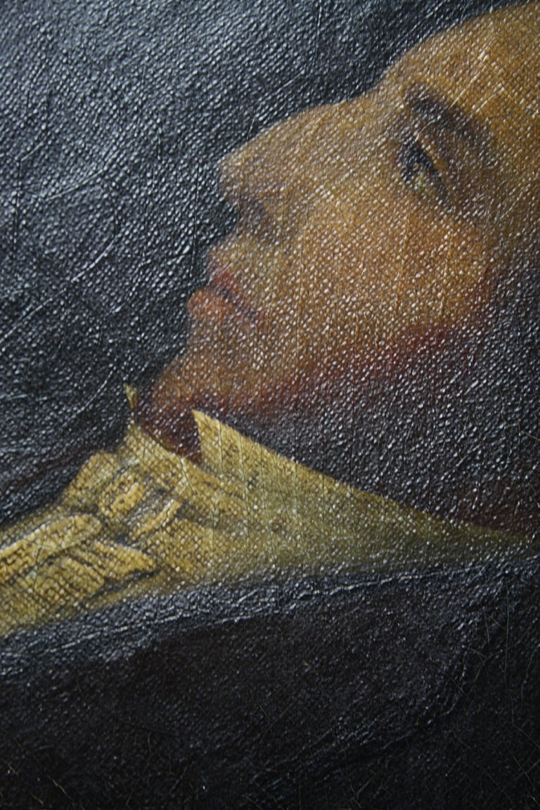 Early 19th Century Oil on Canvas Profile Portrait of Georgian Gentleman In Distressed Condition For Sale In Lowestoft, GB
