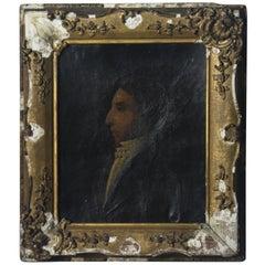 Early 19th Century Oil on Canvas Profile Portrait of Georgian Gentleman