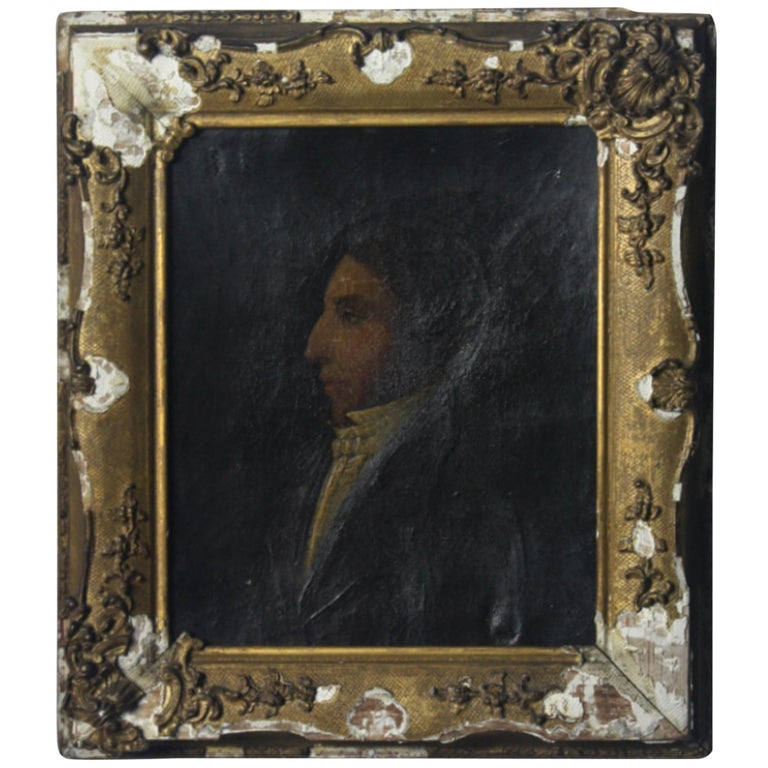 Early 19th Century Oil on Canvas Profile Portrait of Georgian Gentleman For Sale