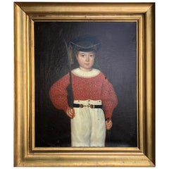 Early 19th Century Oil Painting of a Child Dressed as a Military Soldier