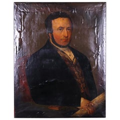Early 19th Century Oil Painting of a Gentleman Holding a Scroll, circa 1800
