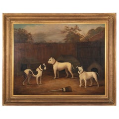 Early 19th Century Oil Painting of Three Dogs Spuriously by James Ward