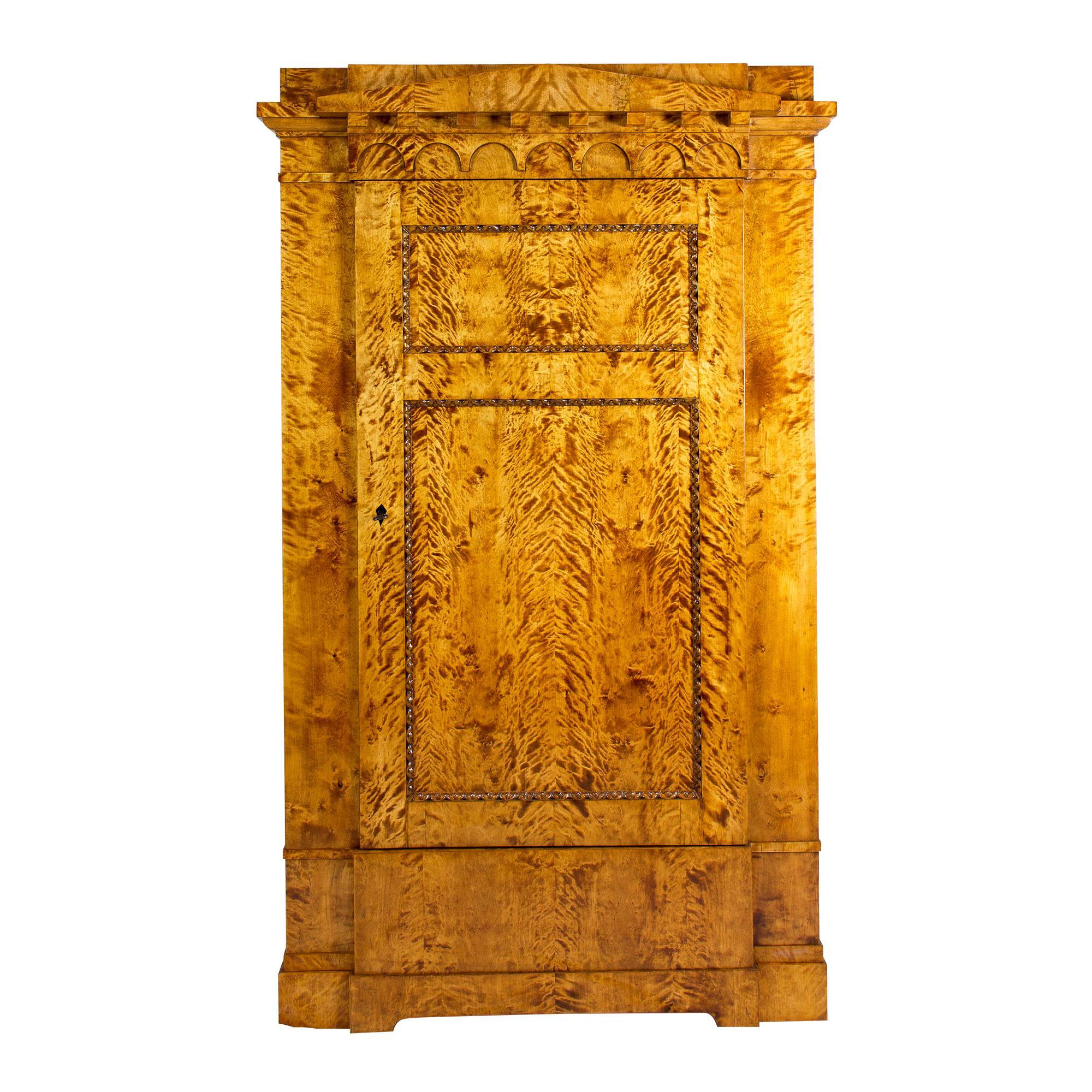 Early 19th Century One-Door Biedermeier Flamed Birch Armoire / Cabinet