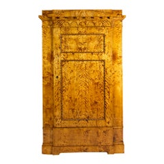 Early 19th Century One-Door Biedermeier Flamed Birch Armoire / Cabinet