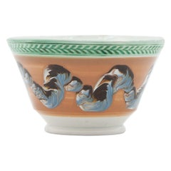 Early 19th Century Orange English Mochaware Waste Bowl