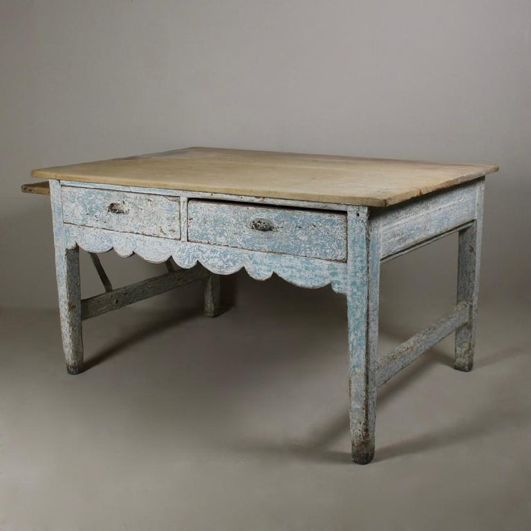 British Early 19th Century Original Painted Pine Sycamore Top Bakers Table For Sale