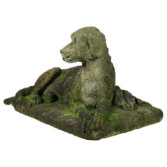 Early 19th Century over Life-Size Carved Stone Hound