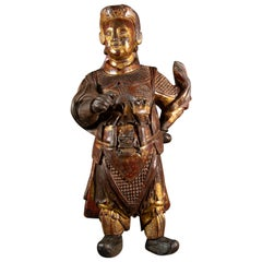 Early 19th Century Painted and Gilded Wooden Sculpture Buddhist Deity Wei-To