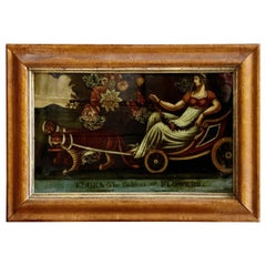 Early 19th Century Painted Glass Transfer Flora the Goddess of Flowers