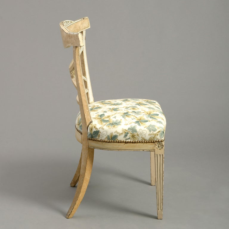 Neoclassical Early 19th Century Painted Gustavian Side Chair For Sale