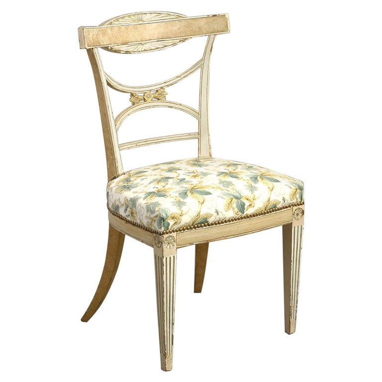 Early 19th Century Painted Gustavian Side Chair For Sale