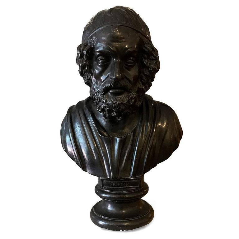 English Early 19th Century Painted Plaster Bust of Homer For Sale