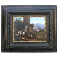 Early 19th Century Painting on Copper of a Tyrolean Scene with Ruin