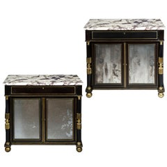 Early 19th Century Pair of Black Cabinets with Marble Tops and Mirror Doors