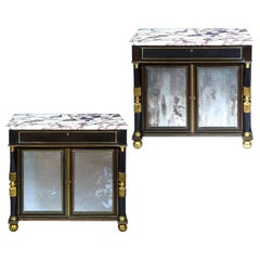 Antique Pair of Regency Cabinets with Marble Tops