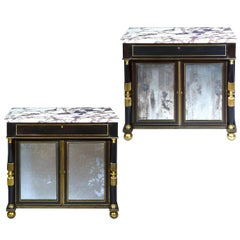 Early 19th Century Pair of Black Lacquer Pier Cabinets with Marble Tops