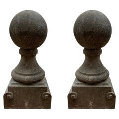 Early 19th Century Pair of Bluestone Ball Finials from Belgium