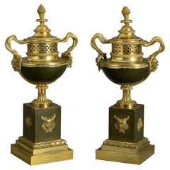 Early 19th Century Pair of Bronze and Ormolu Perfume Burners or Pot-Pourri Vases