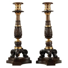 Early 19th Century Pair of Bronze Antique Table Lamps
