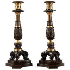 Early 19th Century Pair of Bronze Candlesticks
