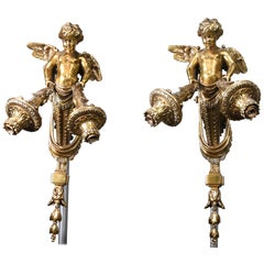 Early 19th Century Pair of Bronze Empire Revival Cherub Wall Sconces/Torcherier