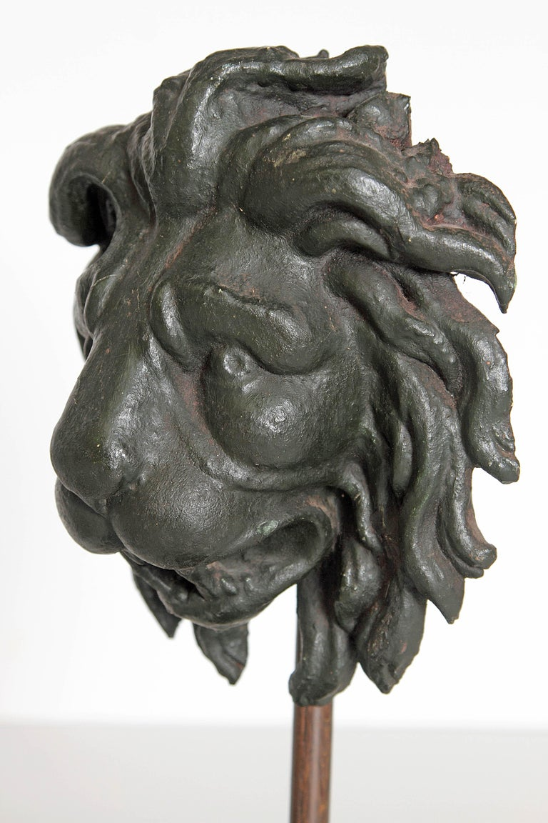 Early 19th Century Pair of Carved Wood Lion Heads For Sale 6