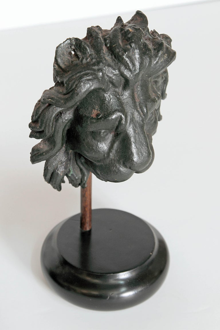 Early 19th Century Pair of Carved Wood Lion Heads For Sale 8