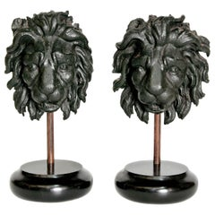 Early 19th Century Pair of Carved Wood Lion Heads