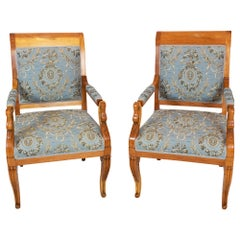Early 19th Century Pair of Empire / Biedermeier Solid Plum Wood Swan Armchairs