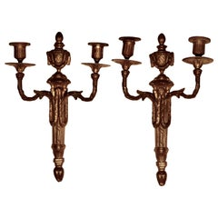 Early 19th Century Pair of French Brass Twin Wall Sconces