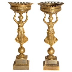 Early 19th Century Pair of French Empire Gilt Bronze Centerpiece Tazzzas