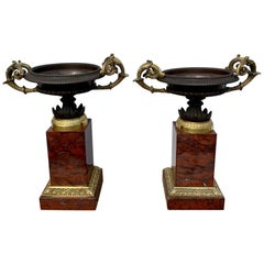 Early 19th Century Pair of French Gilt Bronze Tazzas on Rouge Marble Pedestals