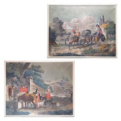 Early 19th Century Pair of French Tempera on Canvas Paintings