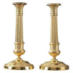 Early 19th Century Pair of Gilt Bronze Restauration Candlesticks