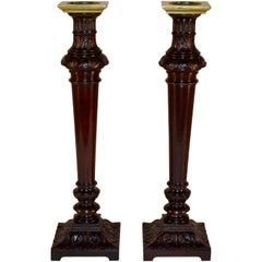 Early 19th Century Pair of Mahogany Candlesticks