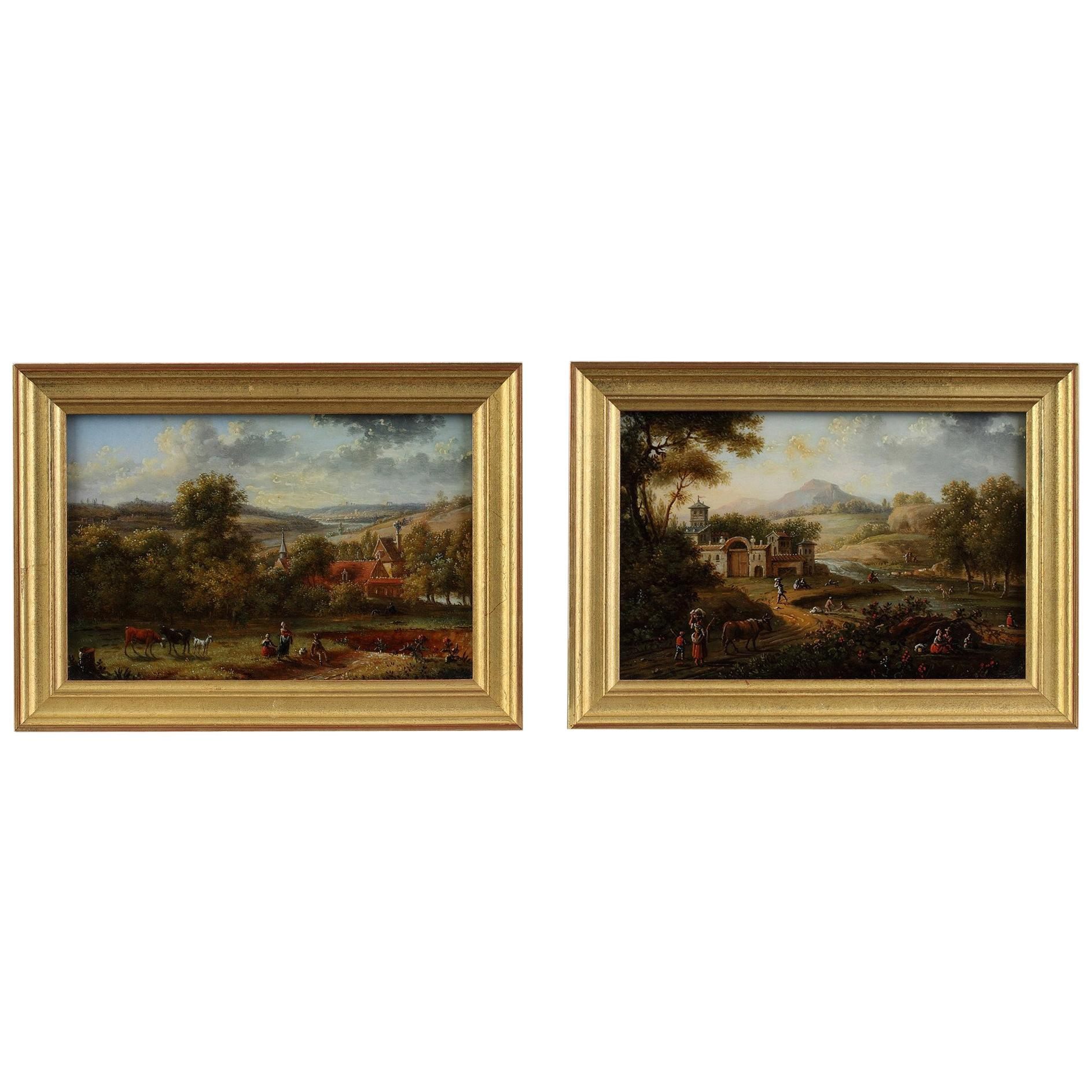 Early 19th Century Pair of Reverse Glass Paintings by Lebelle