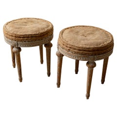 Early 19th Century Pair of Round Swedish Gustavian Period Four Legged Stools