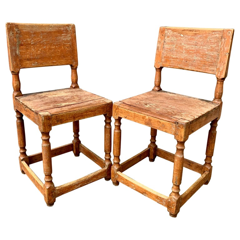Early 19th Century Pair Of Swedish Folk Art Chairs At 1stdibs