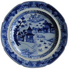 Early 19th Century Pearlware Dinner Plate Blue and White, Staffordshire
