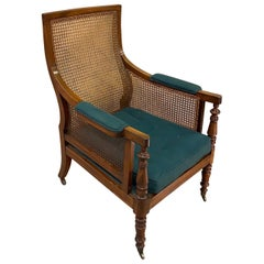 Early 19th Century Period English Mahogany and Cane Library Chair