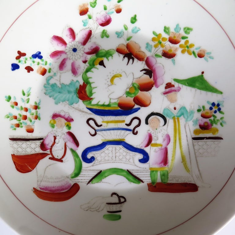 Early 19th Century Plate by Hilditch & Son Staffordshire Oriental Musicians For Sale 5